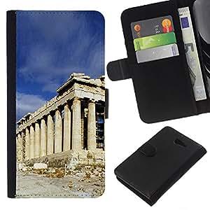All Phone Most Case / Oferta Especial Cáscara Funda de cuero Monedero Cubierta de proteccion Caso / Wallet Case for Sony Xperia M2 // Architecture Ancient Rome Building