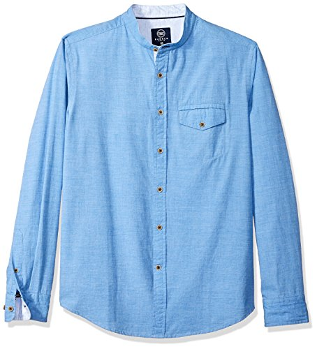 Badger Smith Men's Solid Structure Slim Fit Banded Collar Shirt XXL Blue