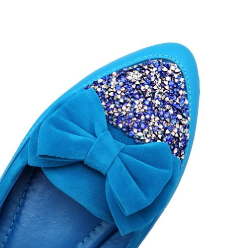 Womens Micro Blue Closed Bowknot Pointed VogueZone009 Heel Pumps Solid Fiber Low Toe whith PU qUBAwH