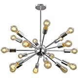 Unitary Brand Morden Metal Large Chandelier with 18 Lights Chrome Finish