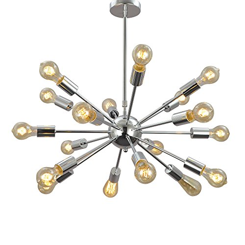 unitary brand morden metal large chandelier with 18 lights chrome finish - Starburst Chandelier