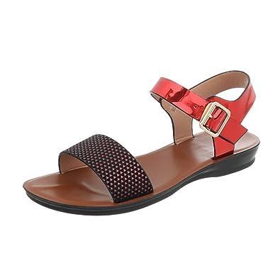 Riemchensandalen Damen-Schuhe Riemchensandalen Moderne Schnalle Sandalen    Sandaletten Rot Multi, Gr 39, 4633724fde