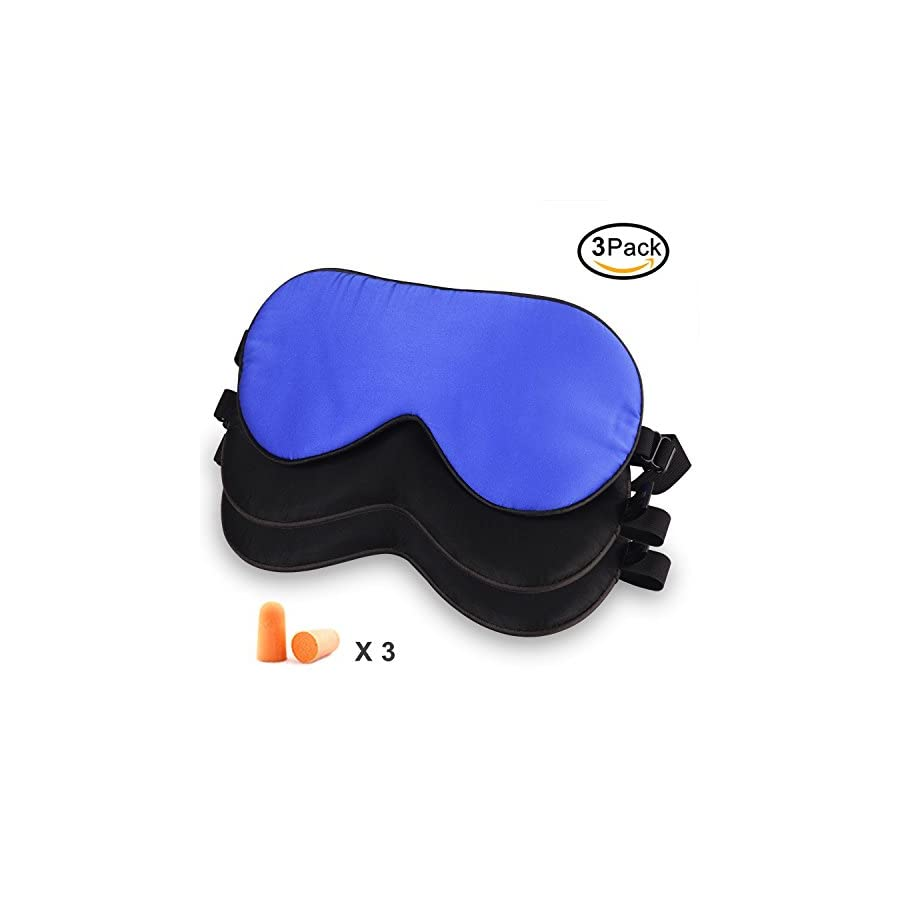 Elongdi 3 Pack Natural Silk Sleep Mask, 100% Pure Mulberry Silk Eye Mask, Breathable Smooth Soft Lightweight Blindfold with Bonus Ear Plugs for Sleeping