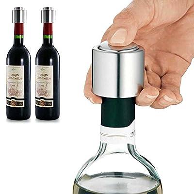 Familybuy Stainless Steel Vacuum Sealed Wine Bottle Stopper, Preserver Pump Sealer Bar Stopper Keep Your Best Wine Fresh Fits 750ml Red Wine Bottle Stopper