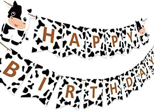 Farm Themed Cow Happy Birthday Banner for Barnyard 1st 2nd 3rd Birthday Party Decorations and Supplies