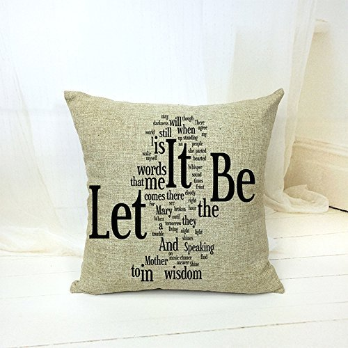 Simple English Alphabet Let It Be Home Style Cotton Linen Throw Pillow Case Cushion Cover Home Office Decorative Square 18 X 18 (Multi Family Office)