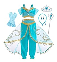 AmzBarley Costume for Girls Princess Dress Up Halloween Cosplay Fancy Party Outfits with Accessories Size 6(5-6Years)