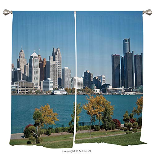 Rod Pocket Curtain Panel Thermal Insulated Blackout Curtains for Bedroom Living Room Dorm Kitchen Cafe/2 Curtain Panels/108 x 90 Inch/Detroit Decor,Industrial City Center Shoreline River Scenic Panora for $<!--$91.99-->