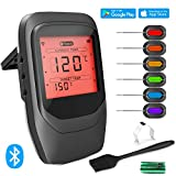 VISTION Bluetooth Cooking Thermometer for Grill, Digital Wireless Meat Thermometer with 6 Probes & Brush, Instant Read Cooking BBQ Alarm Thermometer for Kitchen Oven Smoker, Battery Included