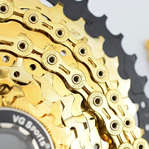 VG Sports 9 Speed MTB Road Bike Bicycle Chain 116L Half-Hollow Chain Silver//Gold