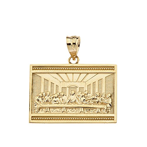 - 10k Yellow Gold The Last Supper of Jesus with His Disciples Pendant