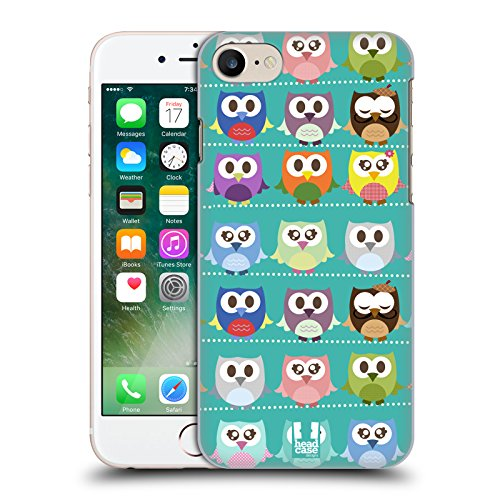 Head Case Designs Pattern Verde Gufi Kawaii Cover Retro Rigida per Apple iPhone 7 / 8
