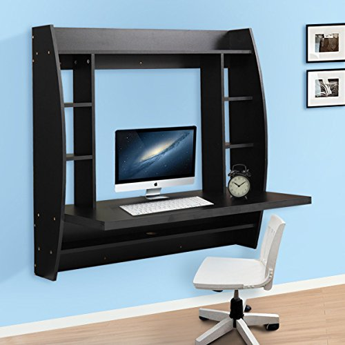 JAXPETY Wall Mounted Floating Computer Desk With Storage Shelves Home Work Station in Black by JAXPETY