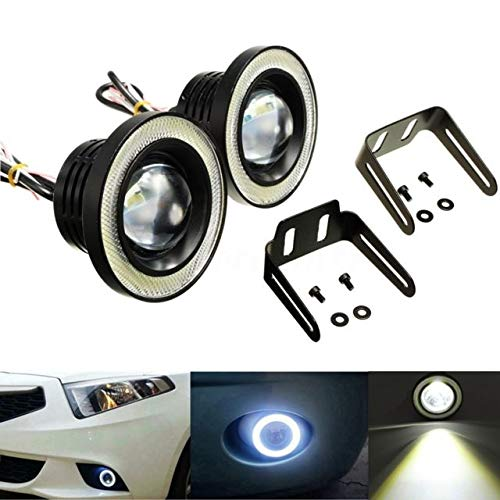 AutoBizarre Car Fog Lamp Angel Eye LED DRL Projector Cob Light 89mm (3.5 inches Front) (2.5 inches Back) – Set of 2