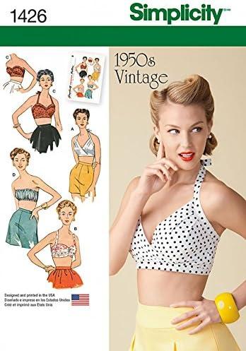 Simplicity Ladies Sewing Pattern 1426 Vintage Style 1950s Bra Tops