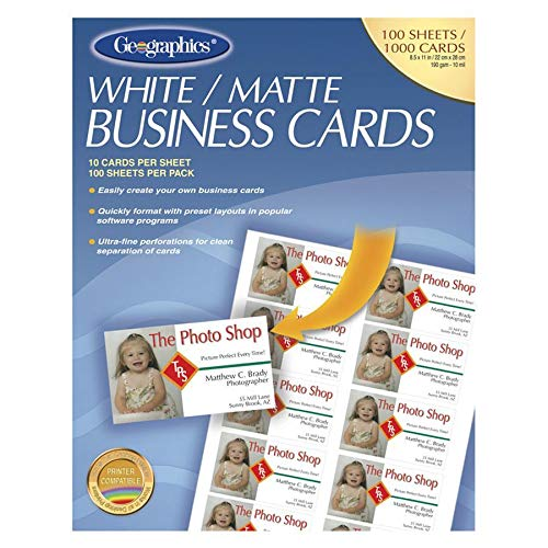 Geographics Royal Brites Business Card - 3.5'' x 2'' - 65lb - Recycled - Matte - 100 / Pack - White
