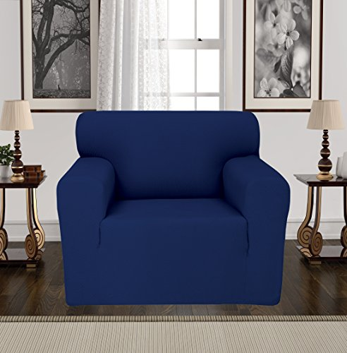 Anti-Slip Jacquard 1-Piece Spandex Stretch Elastic Pet Dog Sofa Couch Cover Slipcover Non-Slip Arm-chair Love-Seat Furniture Protector Shield 1 2 3 Seater T Cushion L Shaped (Chair - Navy) (Chair Shield)