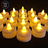 6 Hours Timer, Flameless Led Tea Lights Candles with Timer, 6 Hours On and 18 Hours Off, Flickering Battery Operated Tealights with 200+ Hours Battery life for Wedding, Birthday, party, 12 pcs, Yellow