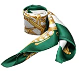 Horse Print Silk Scarf Small Square 100% Silk Neckerchief Wraps (Metal Horse Head White Green)