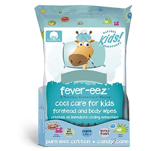 - Natural Essentials Fever-eez Cool Care Forehead and Body Cooling Wipes for Kids and Babies, 32 Count (1)