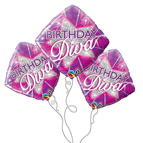 Birthday Diva Mylar Balloon -3pk ()