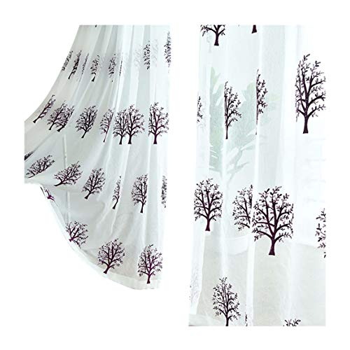 (Aside Bside Solemn Trees Embroidered Sheer Curtain Garden Type Home Decorations Voile Draperies Rod Pockets For Office Dining Room and Bedroom (2 Panels, W 52 x L 95 inch, Purple) )