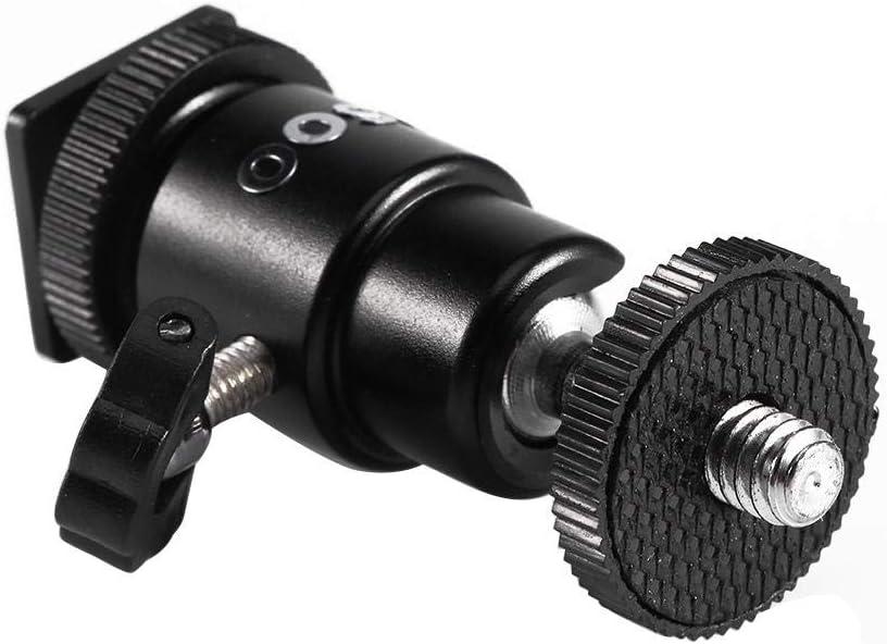 Camera Tripod 1//4 Hot Shoe Adapter Flash Light Bracket Holder Mount Cradle Ball Head With Lock Tripod Ball Head