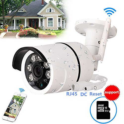 Battery Powered Video - WiFi Camera Outdoor, CCTV Wireless Security IP Camera, 720P HD Night Vision Bullet Cameras, Waterproof Surveillance CCTV, IR LED Motion Detection IP Cameras for Indoor Outdoor,Built-in 16GB SD Card