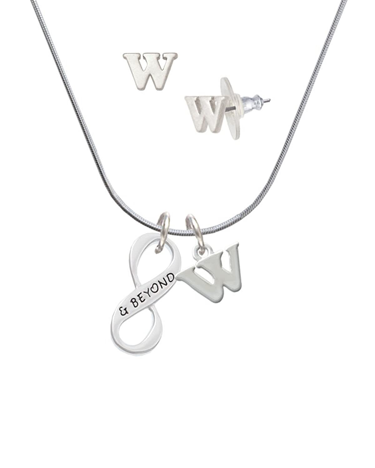 & Beyond Infinity Sign - W Initial Charm Necklace and Stud Earrings Jewelry Set
