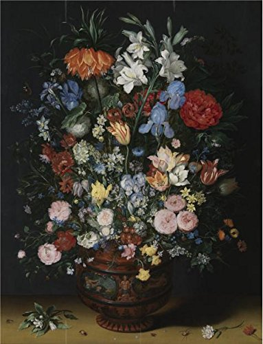 Perfect Effect Canvas ,the Imitations Art DecorativePrints On Canvas Of Oil Painting 'Jan Brueghel I - Flowers In A Ceramic Vase, C.1620', 16x21 Inch / 41x53 Cm Is Best For Hallway Gallery Art And Home Decor And Gifts