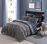 Cassiel Home Mens Gray Comforter Set College Dorm Bedding Set Elastic Embroidery Twin Size