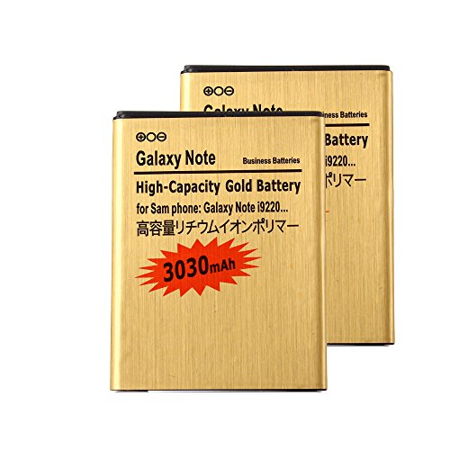 2 pcs Gold Extended Samsung Galaxy Note SGH-i717 High Capacity Battery EB615268VA EB615268VU For Samsung Galaxy Note SGH-i717 / Samsung Galaxy Note SGH-T879 / Samsung Galaxy Note GT-N7000 / Samsung Galaxy Note GT-I9220 3030 mAh