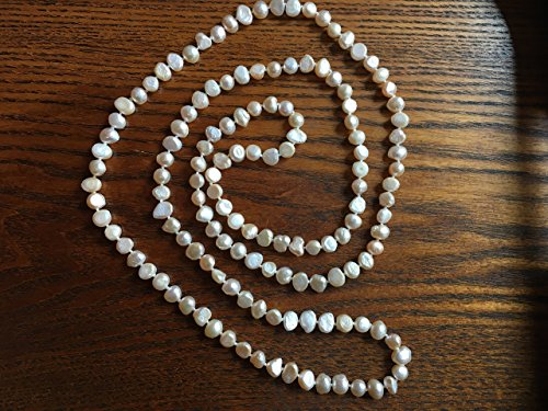 lovely 47 inch long classic white freshwater pearl necklace