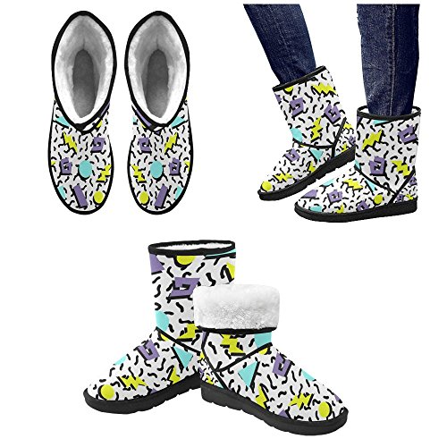 Snow Pattern Print Boots Ladies Circles Floral InterestPrint 5 Color14 Size 5 12 Tribal Doodle Ethnic colorful Classic Womens qdwtIxX7