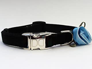 product image for Diva Dog UBS91 Carnation Blue Velvet Dog Collar - Teacup Sized