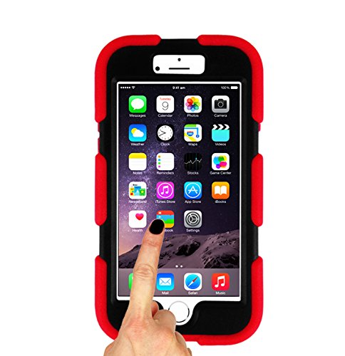 Magic Global Gadgets - Heavy Duty Ultra Tough Survivor Military Rugged Builders Workman School Extreme Grade Shock Proof Case Cover For Apple iPhone 6 (4.7inch) 6G 6th Gen 6th Generation With Built In Screen Guard Protector (Red)