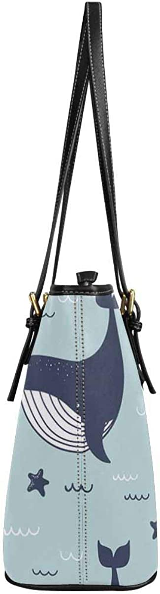 INTERESTPRINT Whales Dolphins and Sea Stars Fashion Womens PU Leather HandBags Ladies Shoulder Bags Tote Bags