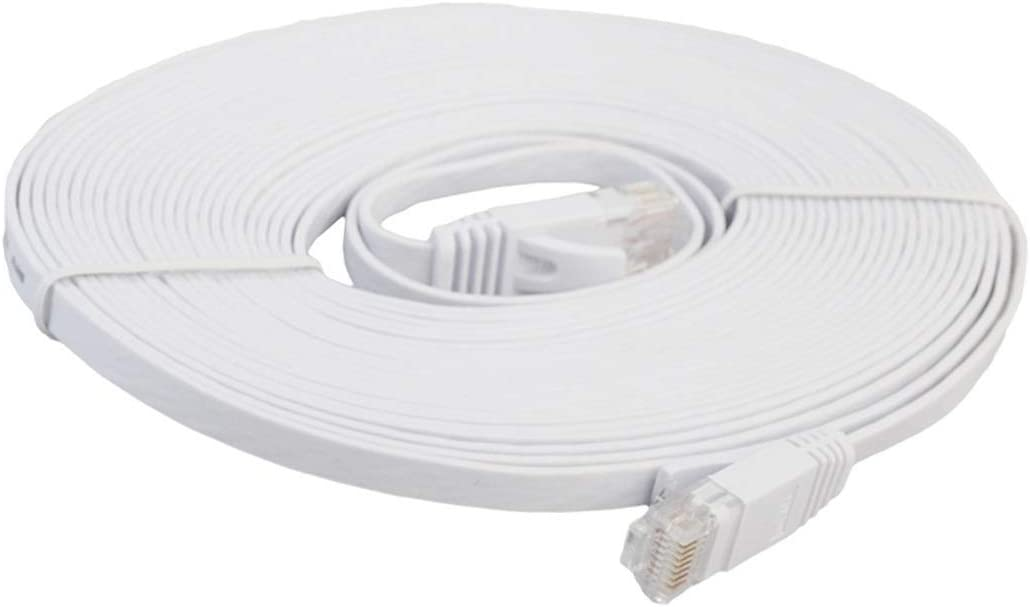 Orange Patch Lead RJ45 HEGGW 8m CAT6 Ultra-Thin Flat Ethernet Network LAN Cable Color : White