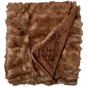 "Best Home Fashion Faux Fur Throw - Lounge Blanket - Coyote - 58""W x 60""L - (1 Throw)"