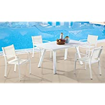 Milan Melbourne Matte White Outdoor Aluminum Dining Set with Low Back Chairs
