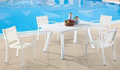 Milan Melbourne Matte White Outdoor Aluminum Dining Set with Low Back Chairs ()