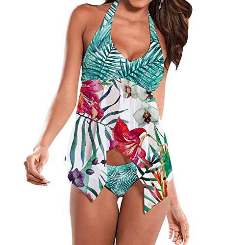 UNIFACO Women Two Pieces Tankini Sets Swimsuit Hawaiian Tropical Low Back Halter Top with Brief L (Halter Tankini Tropical)