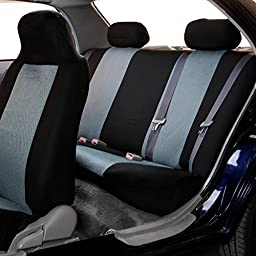 FH-FB102112 Classic Cloth Car Seat Covers Gray / Black color