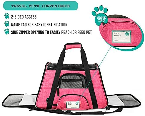 PetAmi Premium Airline Approved Soft-Sided Pet Travel Carrier by Ventilated, Comfortable Design with Safety Features | Ideal for Small to Medium Sized Cats, Dogs, and Pets 6