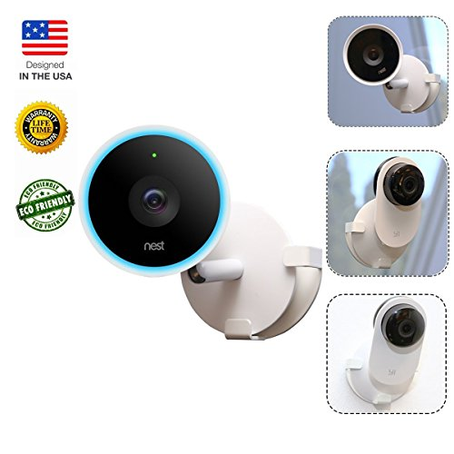 CloverTale Wall Mount for Nest Cam IQ, Alexa Cloud Cam, Yi Home Camera 2, Drop Cam, Kasa Cam Mount flexible 360 degree rotation By FSLabs