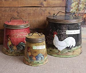 Shabby Country Chic Rooster Tin Canister Set ...