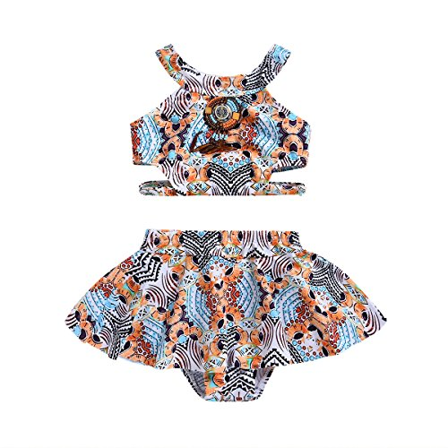 (Baby Girl Swimsuit 18-24M Floral Cute Vintage Tankini 2-Piece Swimwear Beach Set)