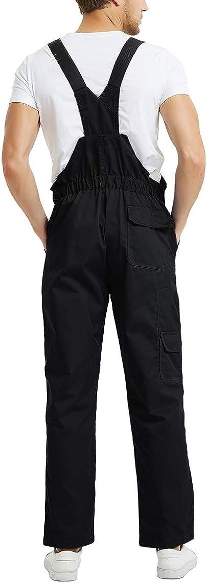 TOPTIE Homme Salopette de Travail mit Poches Combinaison de Travail Performance Stretch Coton Respirant Combinaison de Travail Homme /à Manches Courtes l/ég/ère avec Taille /élastique
