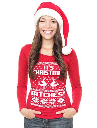 Donna Maniche Christmas Lunghe Nero It's Shirtgeil Maglia Di Natale Maglione Brutto Bitches gxqSq1pwT