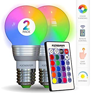 Kobra LED Color Changing Light Bulb with Remote Control - 16 Different Color Choices Smooth, Fade, Flash or Strobe Mode - Smart Remote Lightbulb - RGB & Multi Colored - Makes a Perfect Gift